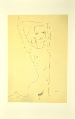 Nude Girl with Raised Arms - Original Lithograph after E. Schiele