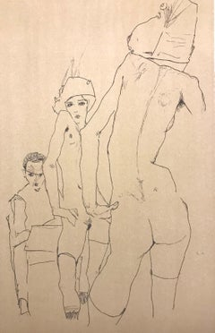 Nude Model in front of a Mirror  - 2000s - Lithograph - Modern Art