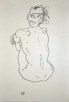 Nude of woman - Original Collotype Print After Egon Schiele - 1920