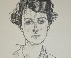 Portrait of a Young Woman - Original Collotype Print After Egon Schiele - 1920