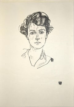 Portrait of a Young Woman - Original Collotype Print After Egon Schiele - 1920