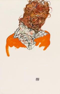 Portrait Study: Mrs E. Sch. - Original Collotype Print After Egon Schiele - 1920