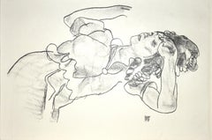Reclining Girl - Original Collotype Print After Egon Schiele - 1920