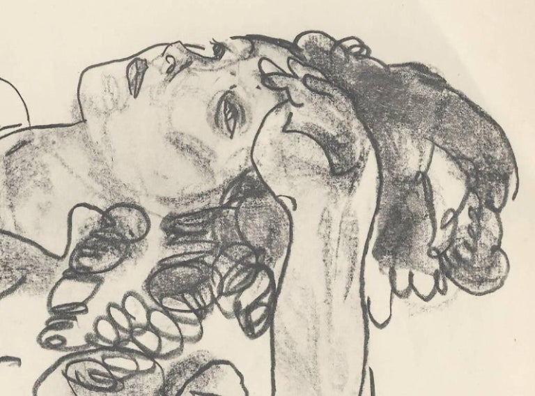 Reclining Girl, Half-Figure (Sketch Folio) after Egon Schiele, 1920 Collotype - Vienna Secession Print by (after) Egon Schiele