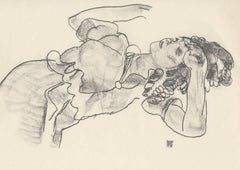 Reclining Girl, Half-Figure (Sketch Folio) after Egon Schiele, 1920 Collotype