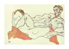 Reclining Male and Female Nude, Entwined - 2000s - Lithograph After Egon Schiele