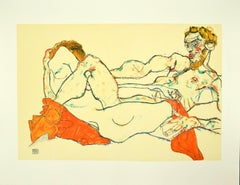 Reclining Male and Female Nude, Entwined - Original Lithograph after E. Schiele