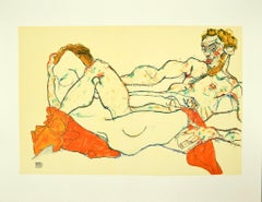 Reclining Male and Female Nude - Original Lithograph after E. Schiele - 2007