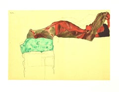Reclining Male Nude with Green Cloth - Original Lithograph after E. Schiele