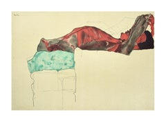 Reclining Male Reclining Male Nude with  - 2000s - Lithograph After Egon Schiele