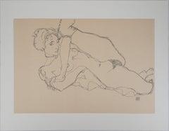 Reclining Nude, Left Leg Raised - Lithograph (Kallir #1531)