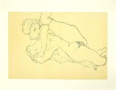 Reclining Nude, Left Leg Raised - Original Lithograph after E. Schiele - 2007