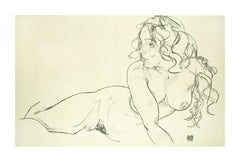 Reclining Nude with Raised Torso - 2000s - Lithograph After Egon Schiele