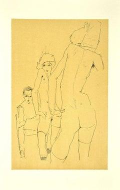 Schiele Drawing a Nude Model [...] - Original Lithograph after E. Schiele - 2007