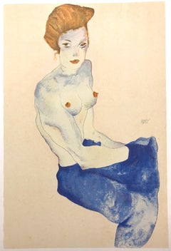 Seated Girl with Bare Torso  - 2000s - Lithograph - Modern Art