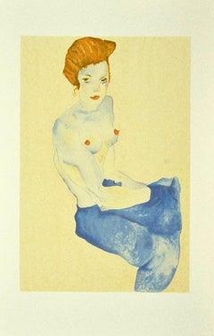 Seated Girl with Bare Torso - Original Lithograph after E. Schiele - 2007