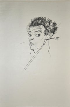 Selfportrait - Original Collotype Print After Egon Schiele - 1920