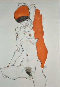 Sitting Female Nude - Original Collotype Print After Egon Schiele - 1920