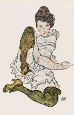 Sitting Model - Original Collotype Print After Egon Schiele - 1920