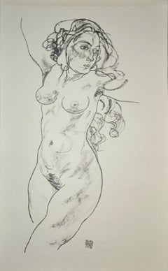 Standing Female Nude - Original Collotype Print After Egon Schiele - 1920
