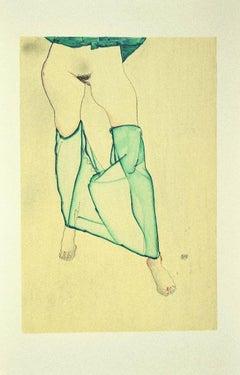 Standing Female Nude [...] - Original Lithograph after E. Schiele - 2007