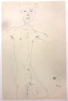 Standing Male Nude  - 2000s - Lithograph - Modern Art