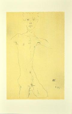 Standing Male Nude  - Original Lithograph after E. Schiele