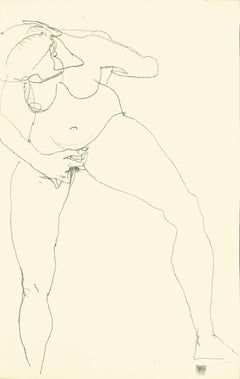 Stehende Frau Masturbierend - 1910s - Lithograph - Modern