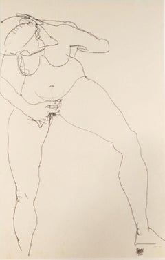 Stehende Frau Masturbierend - Original Lithograph After Egon Schiele
