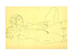 Two Reclining Nude Girls - Original Lithograph after E. Schiele