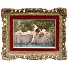 After Émile Munier '1810-Circa 1895' 'Fischend Amor' 'K.P.M.' Porcelain