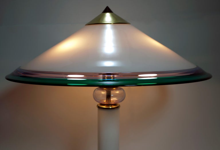 After Ettore Sottsass Italian Murano Glass Table Lamp, 1980s In Good Condition In Cerignola, Italy Puglia