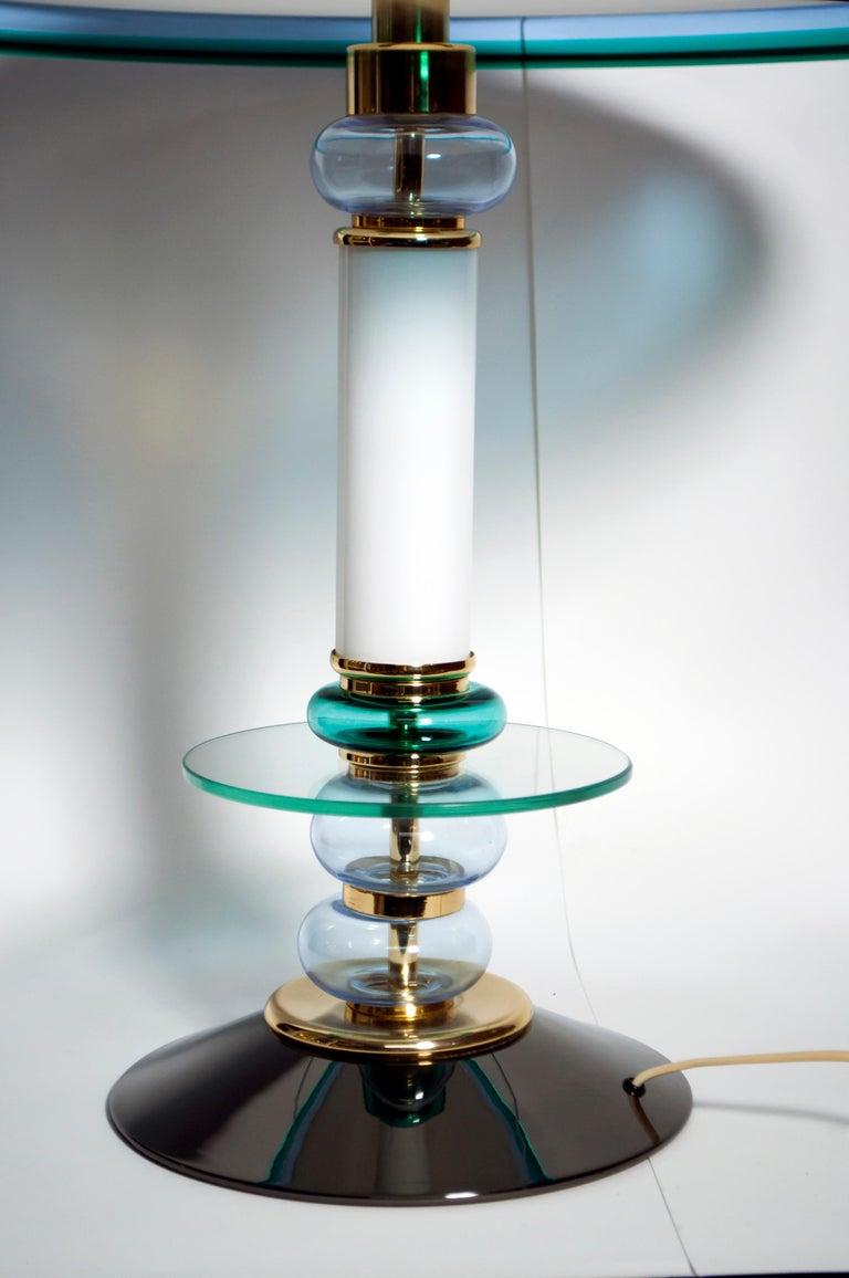 Brass After Ettore Sottsass Italian Murano Glass Table Lamp, 1980s