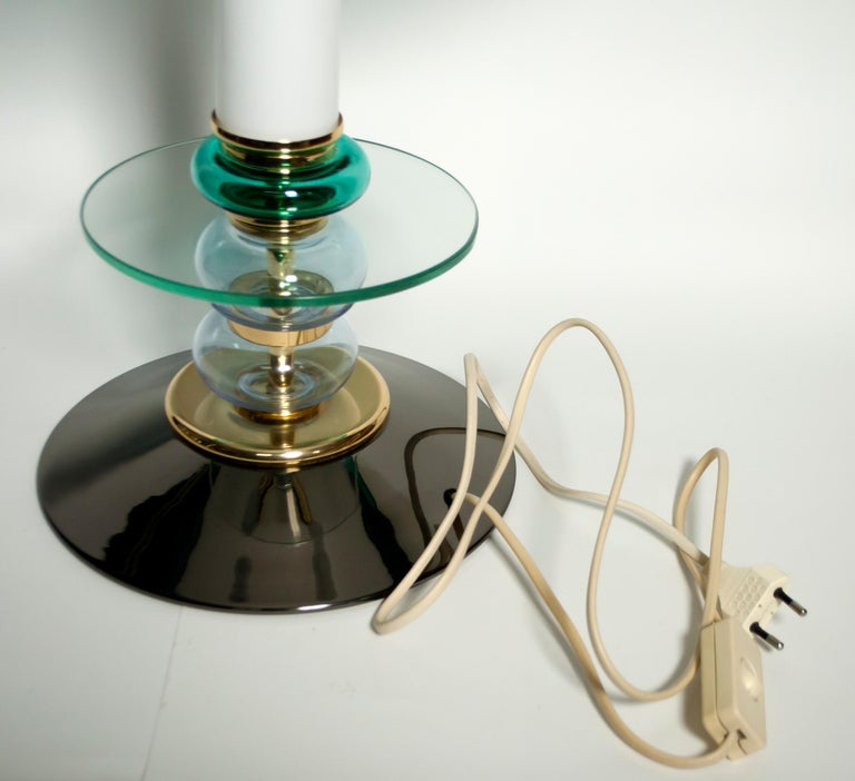After Ettore Sottsass Italian Murano Glass Table Lamp, 1980s 2