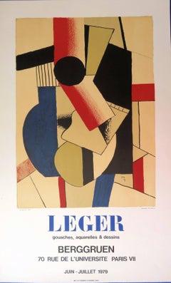 Cubist Guitar - Lithograph poster - Berggruen / Mourlot 1979