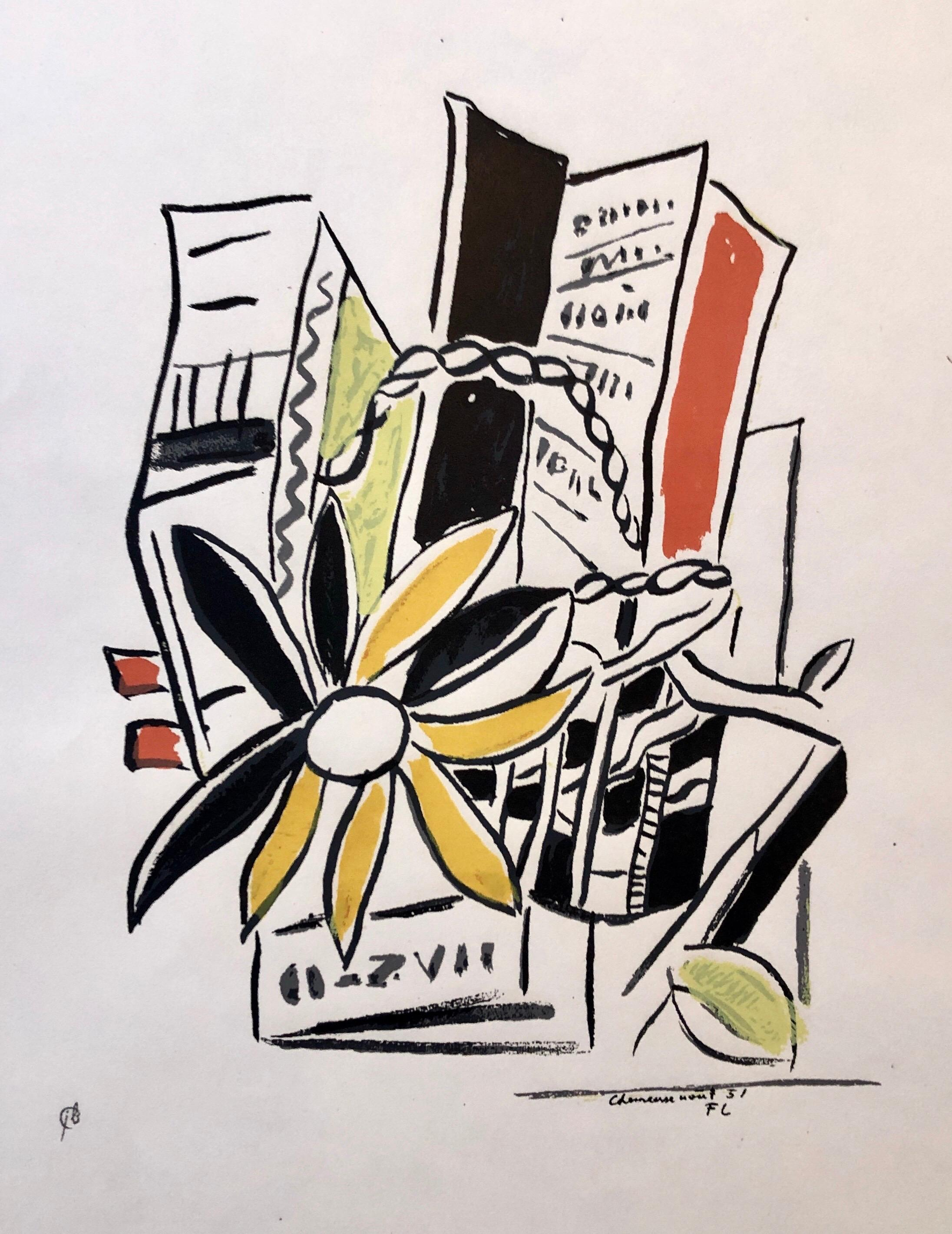 Fernand Leger Colorful Modernist Drawing Limited Edition Serigraph Lithograph