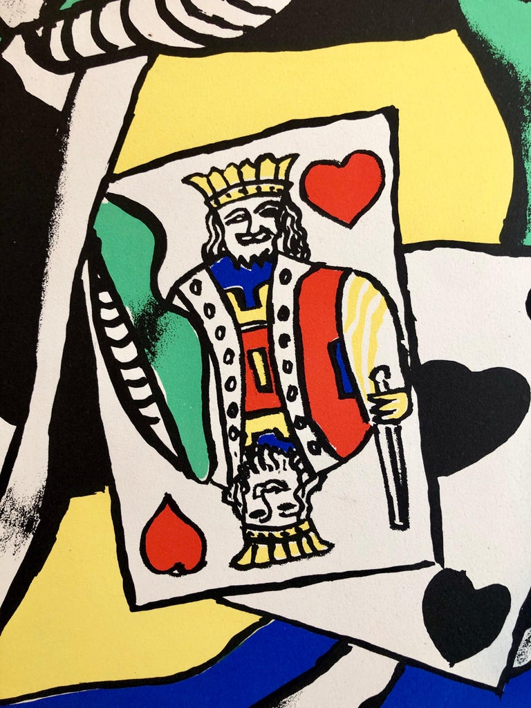 Fernand Leger School Prints Colorful Modernist King of Hearts Drawing Lithograph - Black Abstract Print by (after) Fernand Léger
