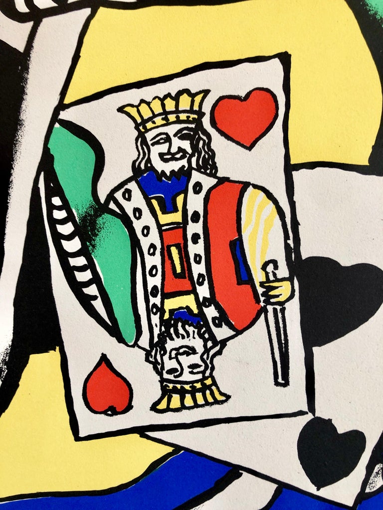 Fernand Leger School Prints Colorful Modernist King of Hearts Drawing Lithograph For Sale 1