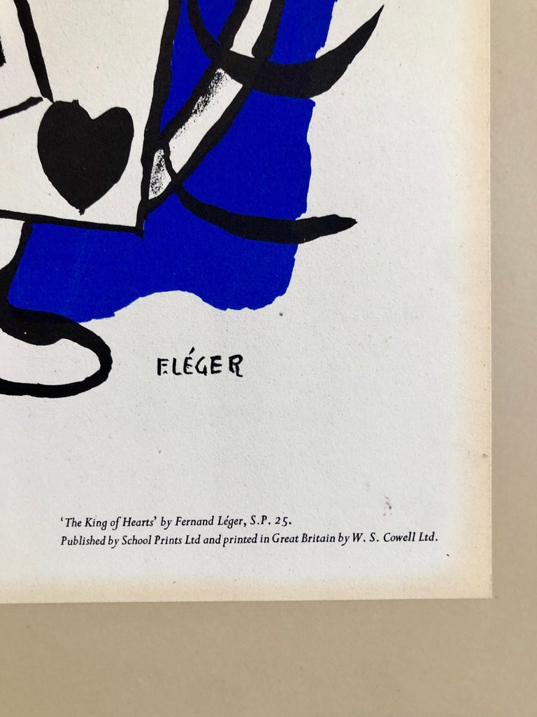Fernand Leger School Prints Colorful Modernist King of Hearts Drawing Lithograph For Sale 2