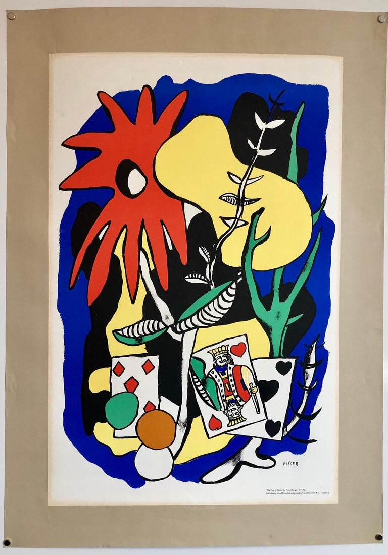 Fernand Leger School Prints Colorful Modernist King of Hearts Drawing Lithograph For Sale 3