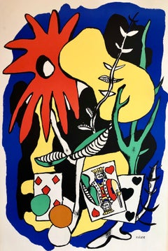 Fernand Leger School Prints Colorful Modernist King of Hearts Drawing Lithograph