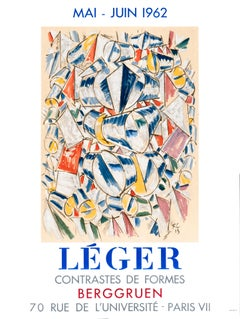 """Leger - Contrastes de Formes - Berggruen"" Original Vintage Exhibition Poster"