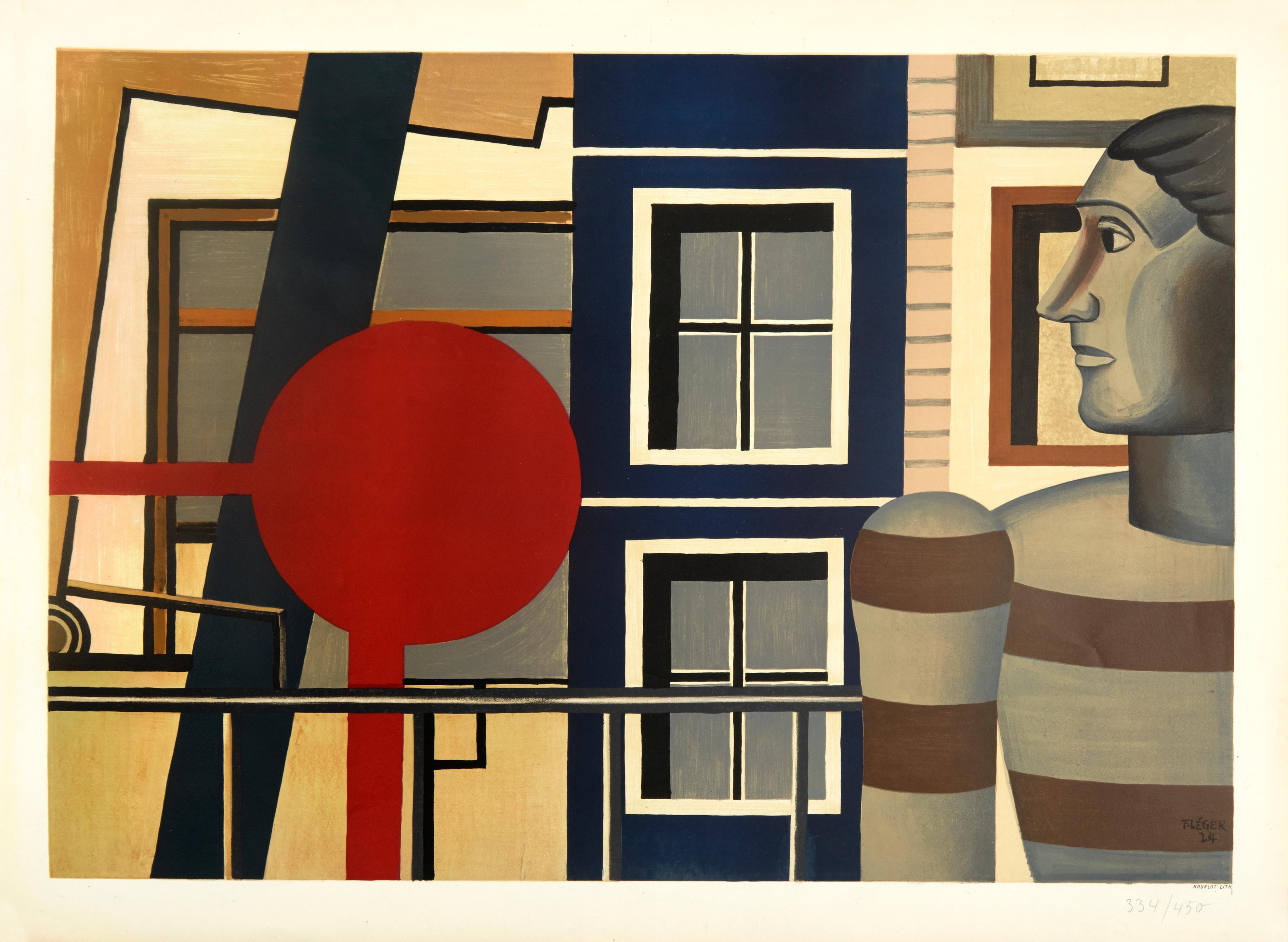 L'Homme au Chandail by Fernand Leger (1956) - color cubist lithograph