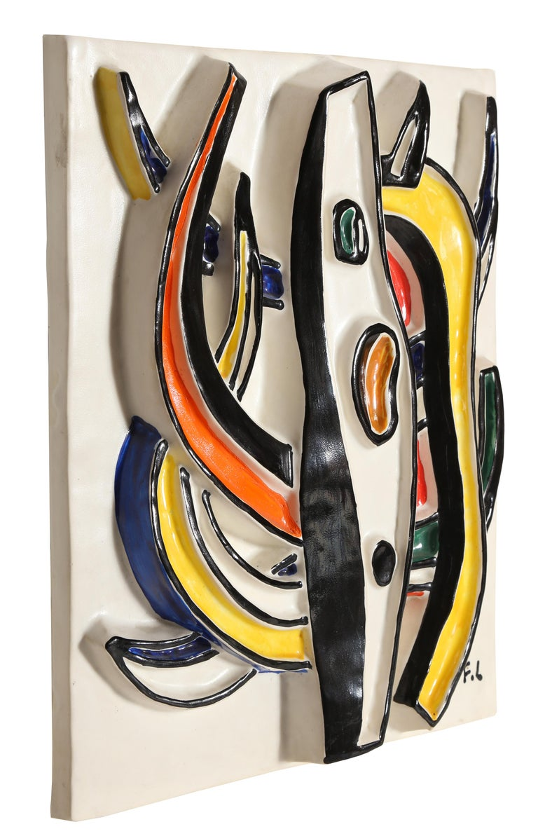 Composition Abstraite, Glazed Terracotta Plaque 1953 3