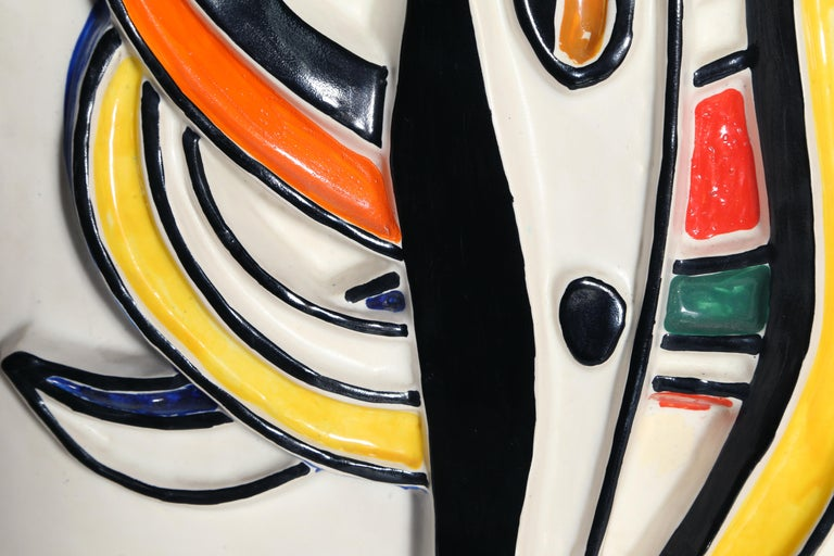 Composition Abstraite, Glazed Terracotta Plaque 1953 - White Abstract Sculpture by (after) Fernand Léger