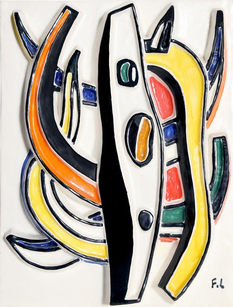 Composition Abstraite, Glazed Terracotta Plaque 1953 1