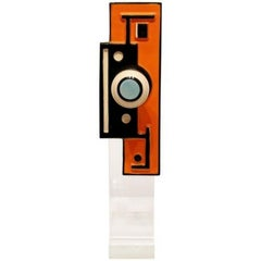 Mid Century Modern Orange & Lucite Table Sculpture Escutcheon Fernand Leger '50s