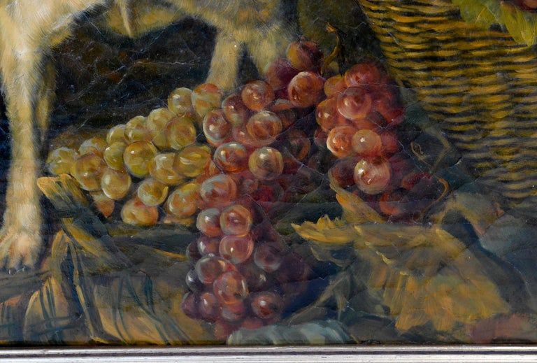 Oil on wooden panel, with fine craquelé, 1840s  Very beautiful and expressive representation of a spitz guarding a basket of grapes. The Austrian painter Ferdinand Georg Waldmüller created the model for this painting in 1836 under the title