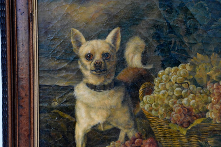 Mid-19th Century After/Follower of Ferdinand Georg Waldmüller, A Dog Guarding Grapes, 1840s For Sale
