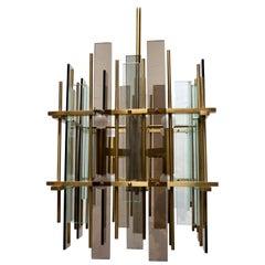 After Fontana Arte Mid-Century Modern Brass and Glass Italian Chandelier, 1970s